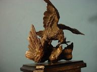 Bronze Sculpture of Fighting Eagles