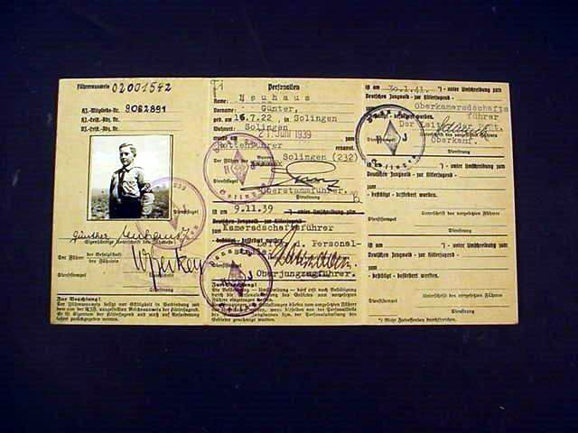 Hitler Youth ID Card